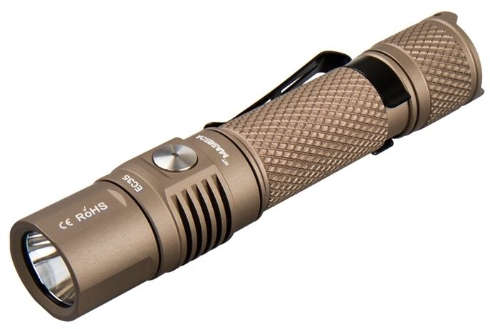 AceBeam EC35 LED Flashlight, Tan, 1200 Max Lumens