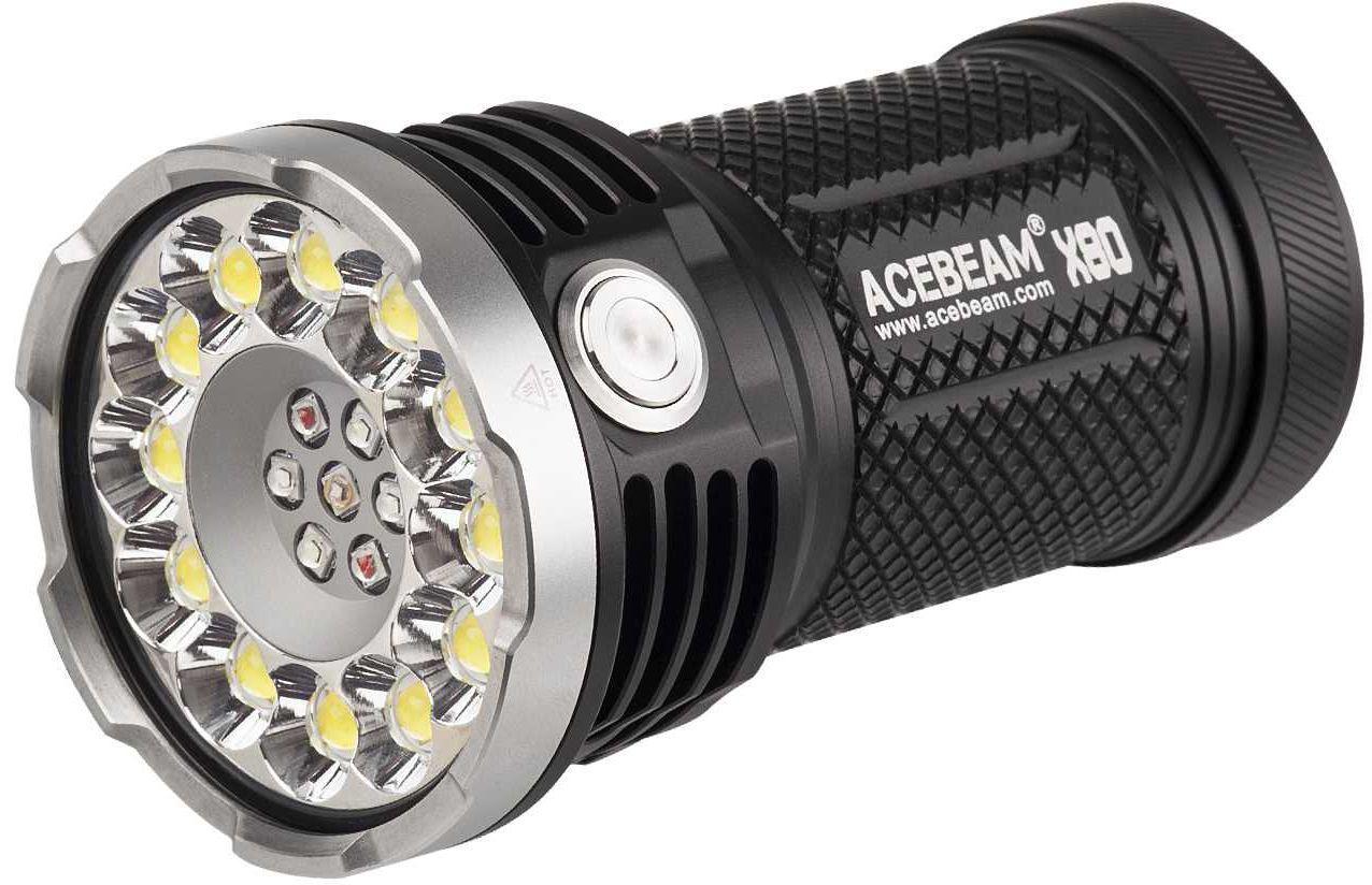 AceBeam X80 LED Flashlight, Black, 25000 Max Lumens