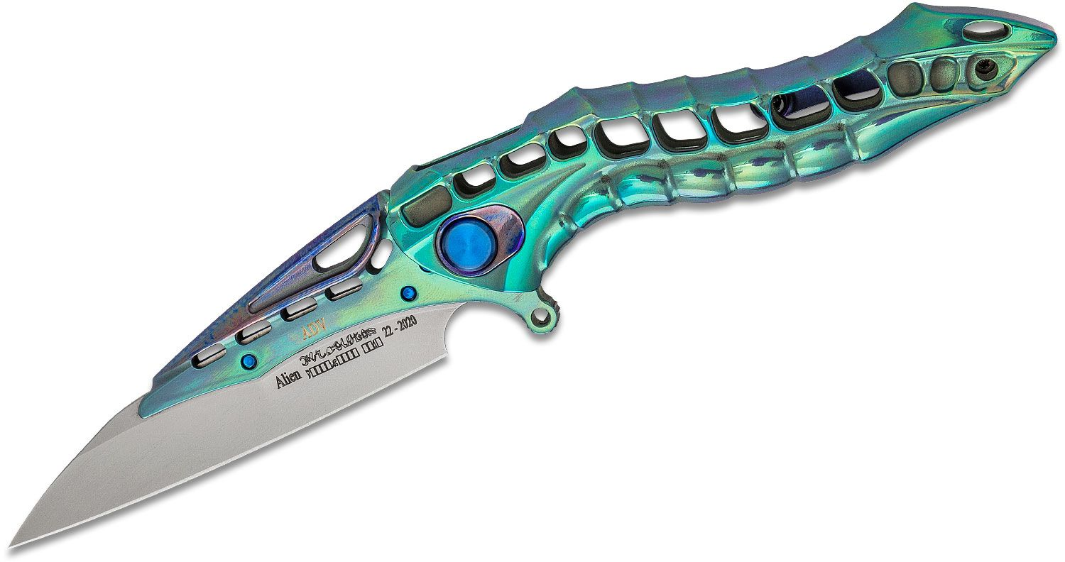 Andre De Villiers Knives Production Alien Flipper Knife 3.375 inch Replaceable M390 Blade with Blue/Teal Frame, Polished Teal Integral Milled Titanium Handle