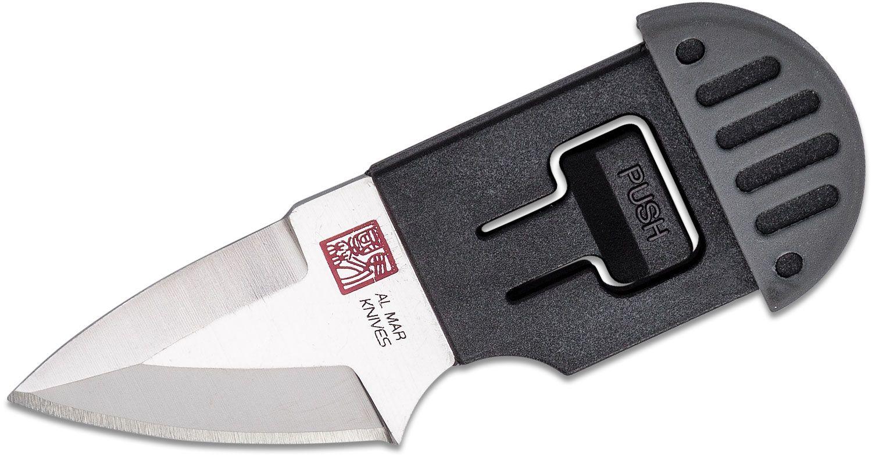 Al Mar Stinger Key Ring Fixed Blade Knife 1.3 inch D2 Drop Point, Gray & Black TPR Handle, TPR Sheath