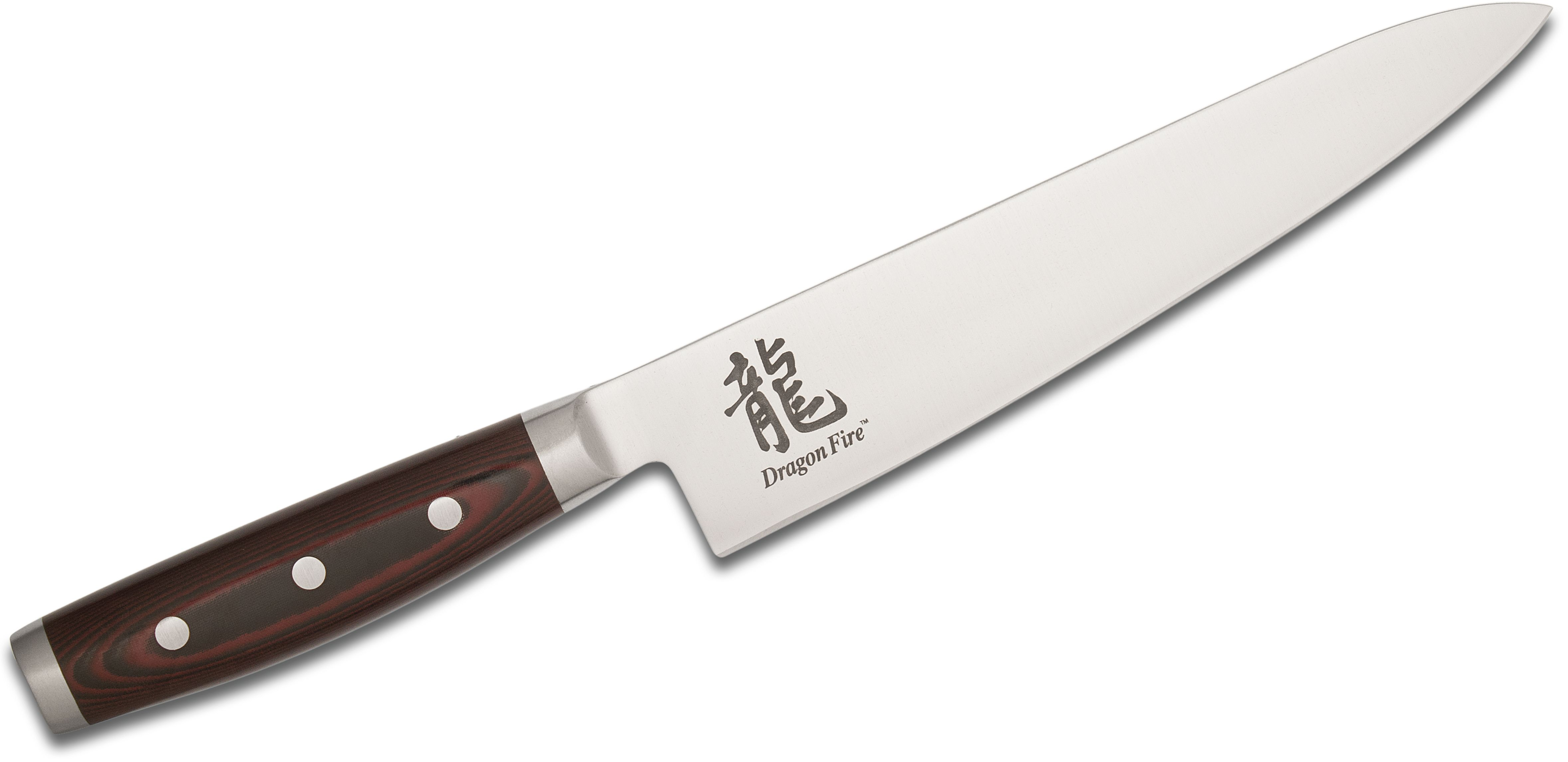 Dragon Fire by Yaxell Japan 8.5 inch Chef's Knife, Red/Black Micarta Handles