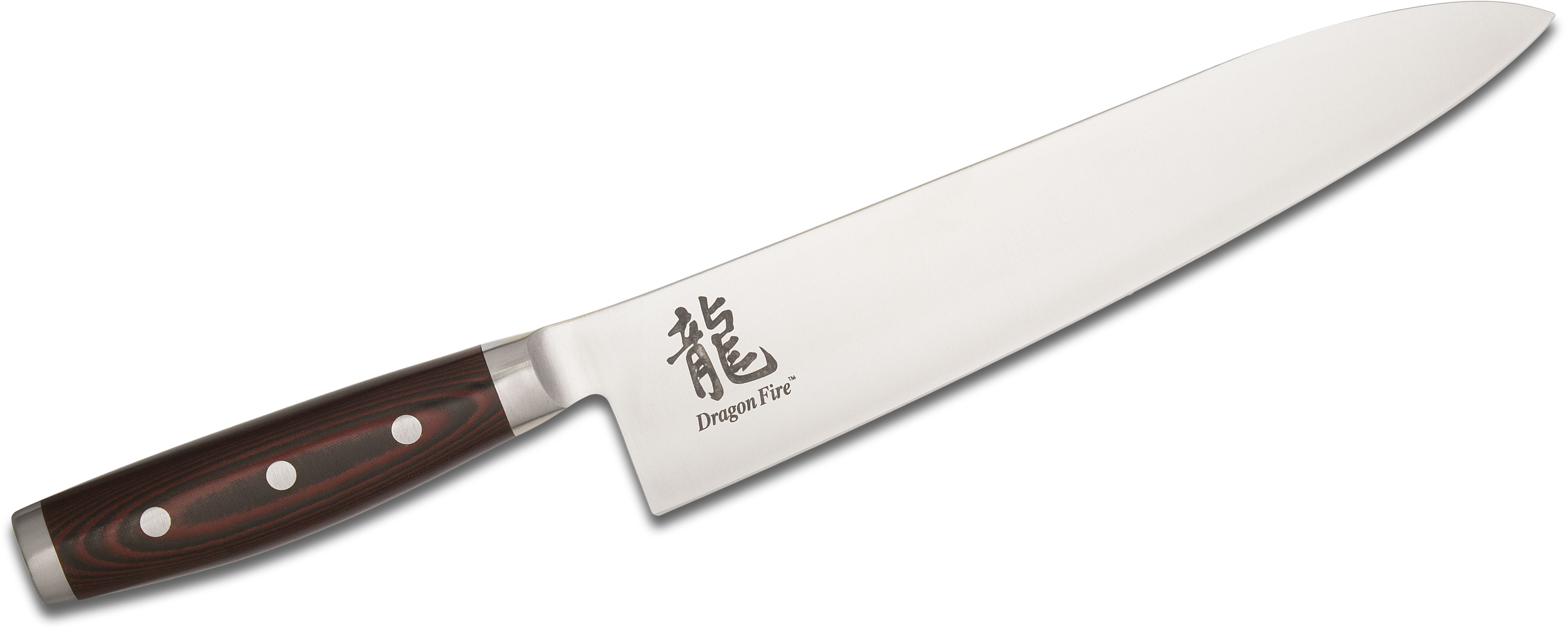Dragon Fire by Yaxell Japan 9.5 inch Chef's Knife, Red/Black Micarta Handles