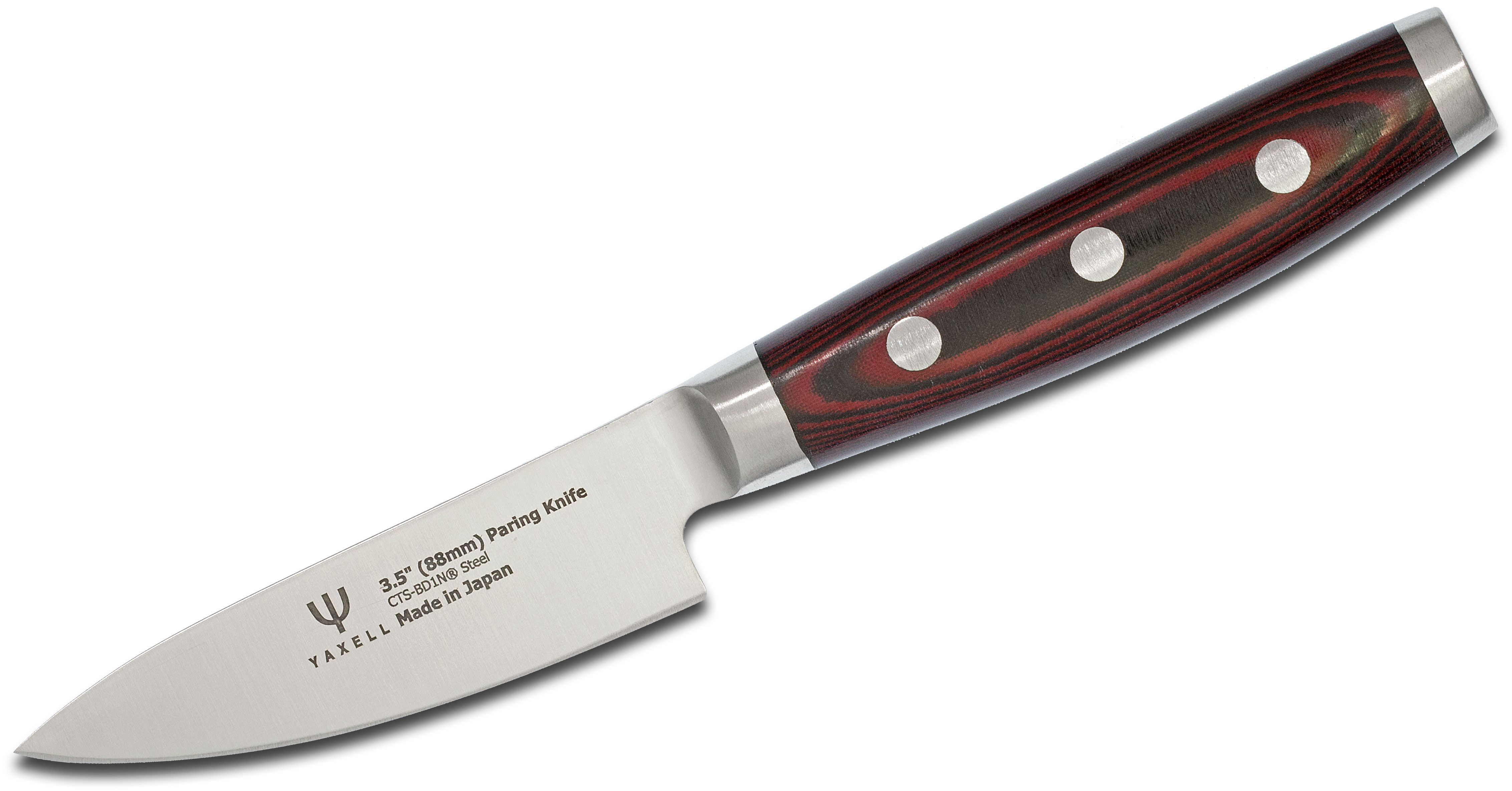 Dragon Fire by Yaxell Japan 3.5 inch Paring Knife, Red/Black Micarta Handles