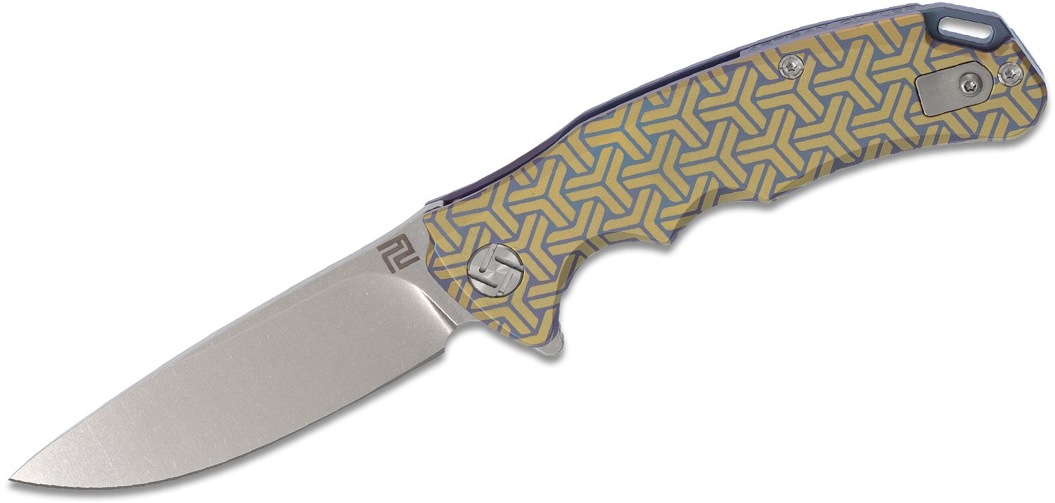 ArtisanCutlery Tradition Flipper Knife 3.13 inch S35VN Stonewashed Drop Point Blade, Gold and Blue Anodized Titanium Handles
