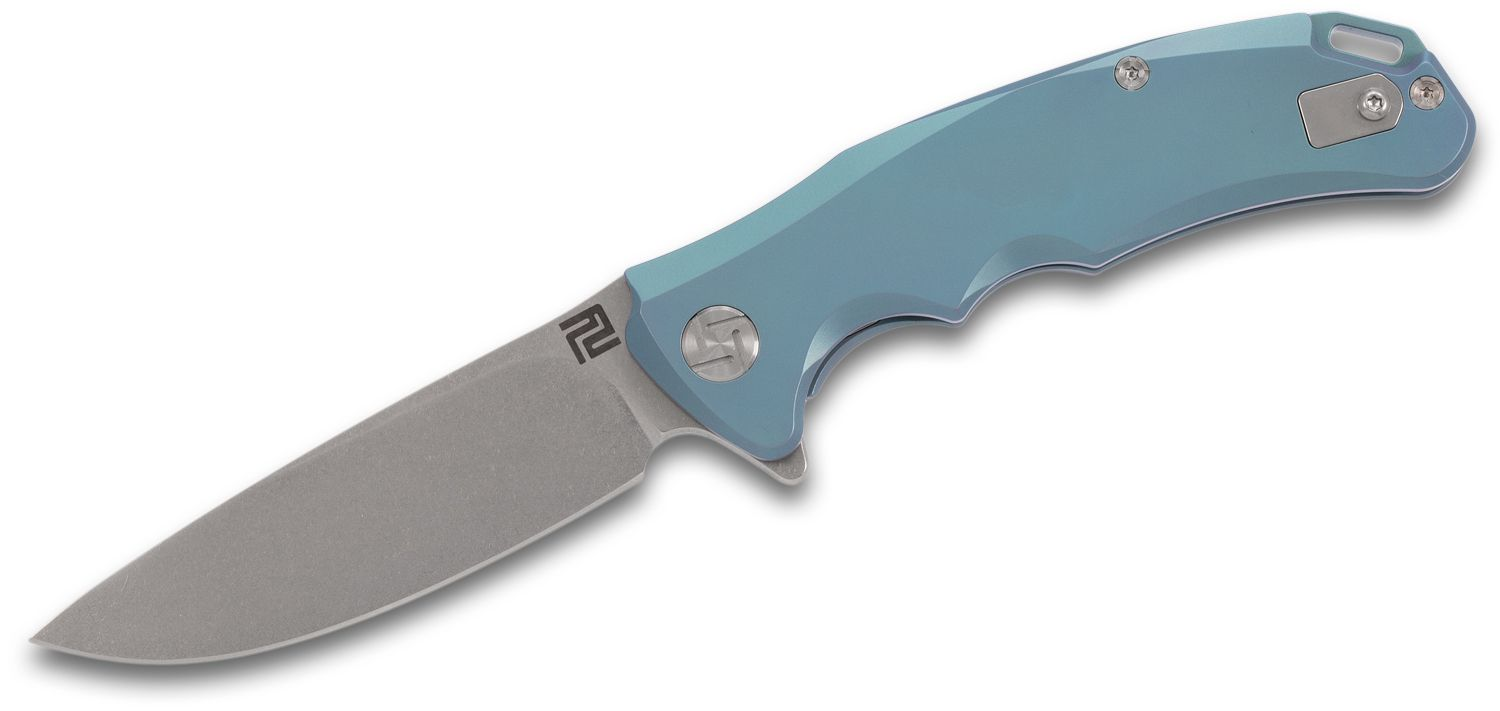 ArtisanCutlery Tradition Flipper Knife 3.1 inch S35VN Stonewashed Blade, Green Anodized Titanium Handles