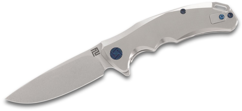 ArtisanCutlery Tradition Flipper Knife 3.94 inch S35VN Stonewashed Blade, Satin Titanium Handles