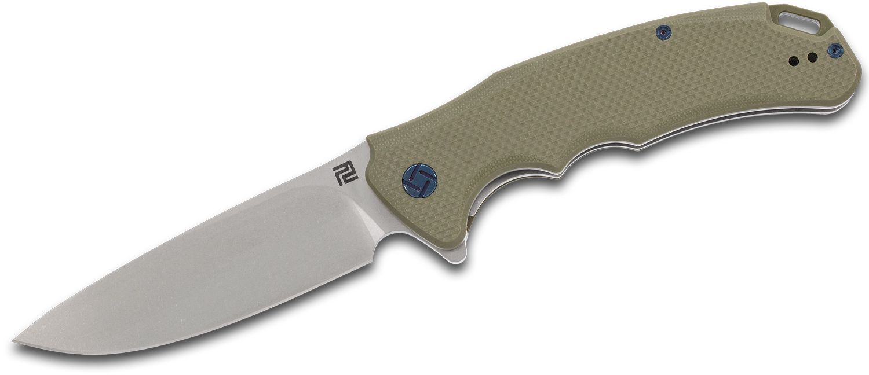 ArtisanCutlery Tradition Flipper Knife 3.94 inch D2 Stonewashed Blade, Green G10 Handles