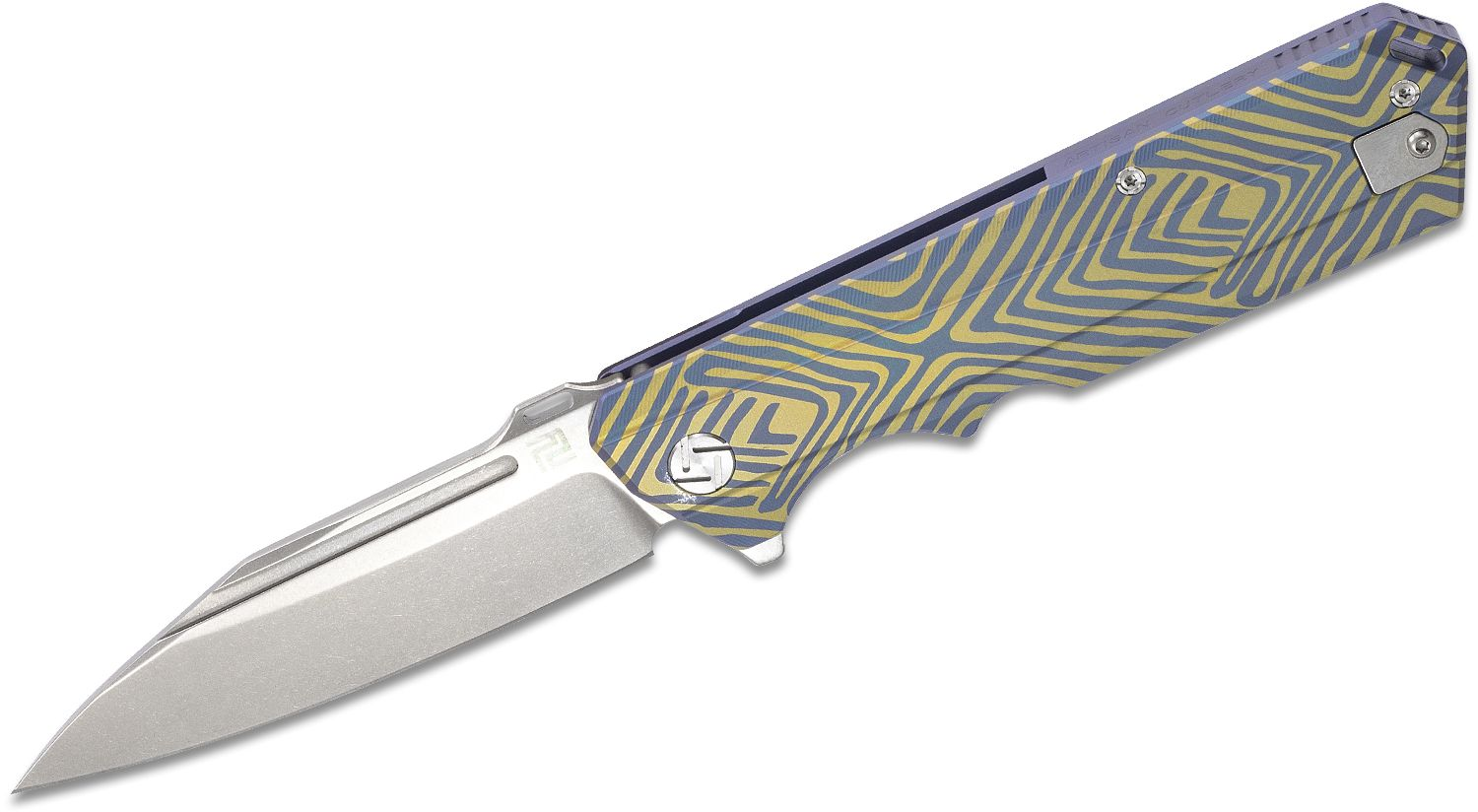 ArtisanCutlery Littoral Flipper Knife 3.74 inch S35VN Stonewashed Drop Point, Blue and Gold Anodized Titanium Handles