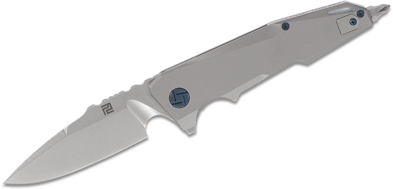 ArtisanCutlery Predator 1706G-GY Flipper Knife 3.75 inch S35VN Stonewashed Blade, Matte Gray Titanium Handles