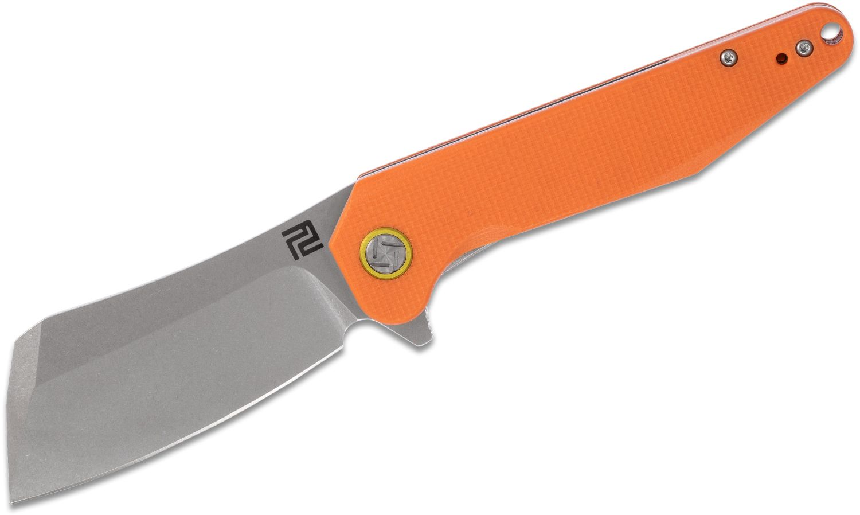 ArtisanCutlery Osprey 1803P-OEF Flipper Knife 3.74 inch D2 Stonewashed Cleaver-Style Blade, Textured Orange G10 Handles