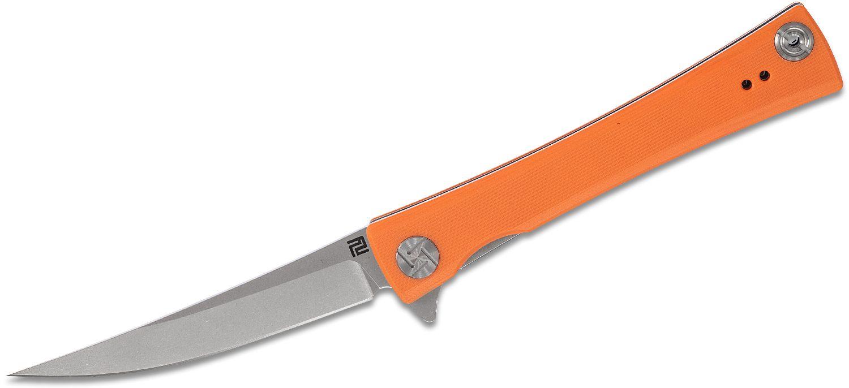 ArtisanCutlery S Waistline 1805P-OEF Flipper Knife 4.06 inch D2 Stonewashed Blade, Textured Orange G10 Handles