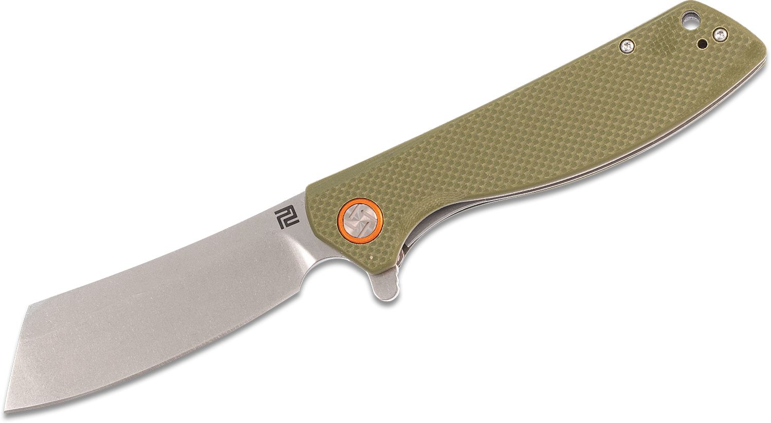 ArtisanCutlery Tomahawk 1815P-GNF Flipper Knife 3.94 inch Stonewashed D2 Cleaver-Style Blade, Textured Green G10 Handles
