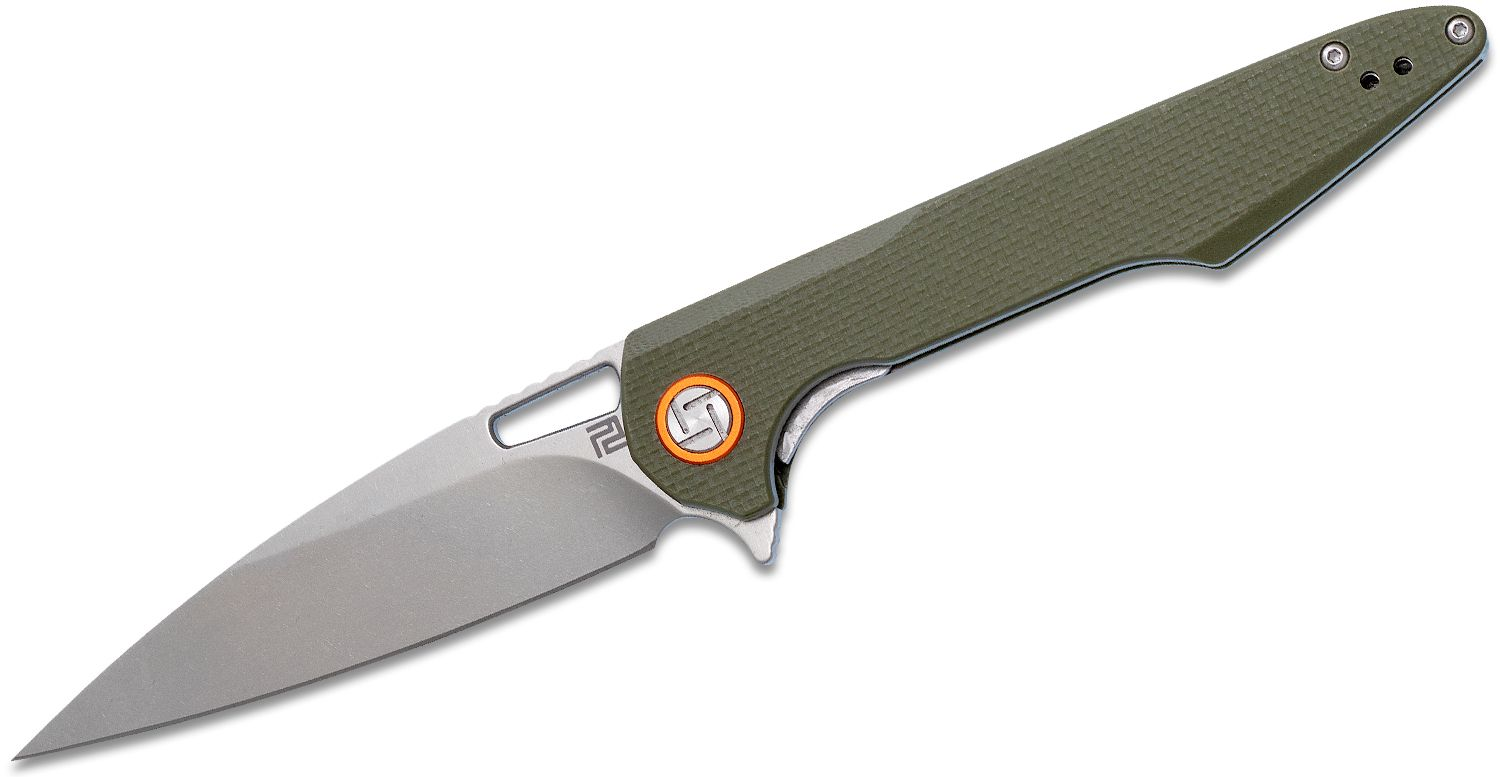ArtisanCutlery Archaeo Flipper Knife 3.86 inch D2 Stonewashed Drop Point Blade, Textured Green G10 Handles