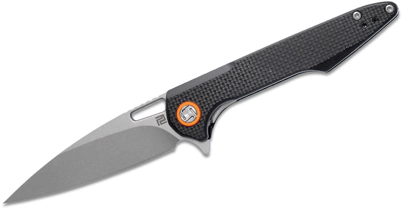ArtisanCutlery Small Archaeo Flipper Knife 3 inch D2 Drop Point Blade, Textured Black G10 Handles