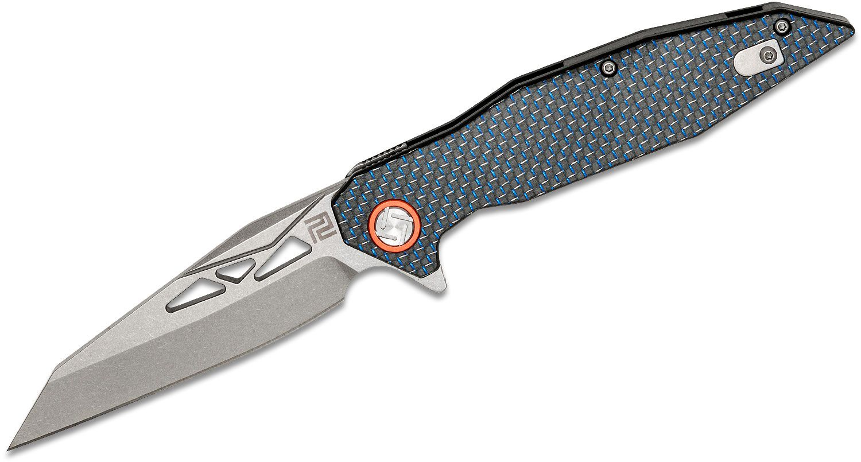 ArtisanCutlery Cygnus Flipper Knife 3.625 inch Stonewashed D2 Reverse Tanto Blade, Blue Lightning Strike Carbon Fiber Handles