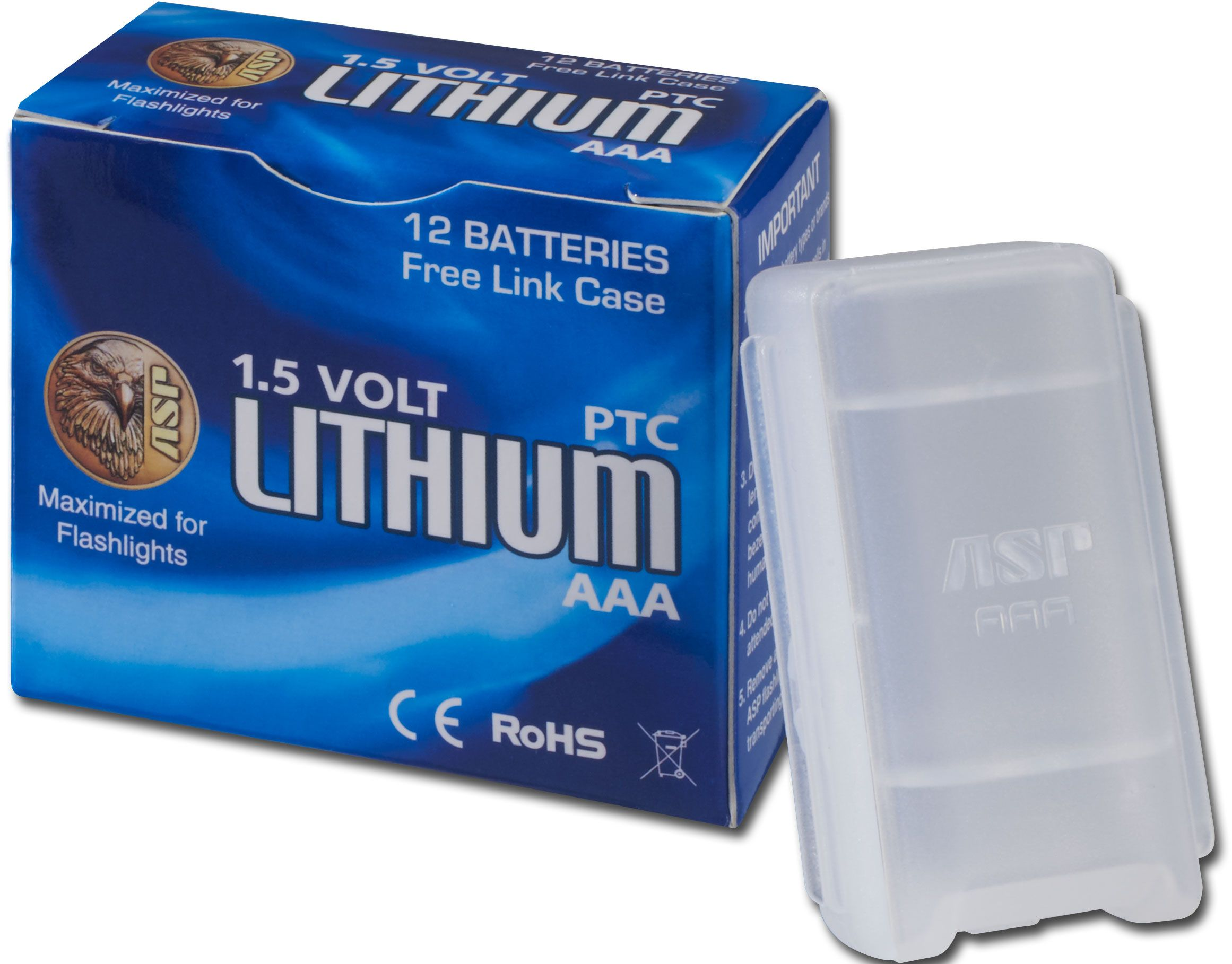ASP AAA Lithium Batteries, 12 Pack with Link Case