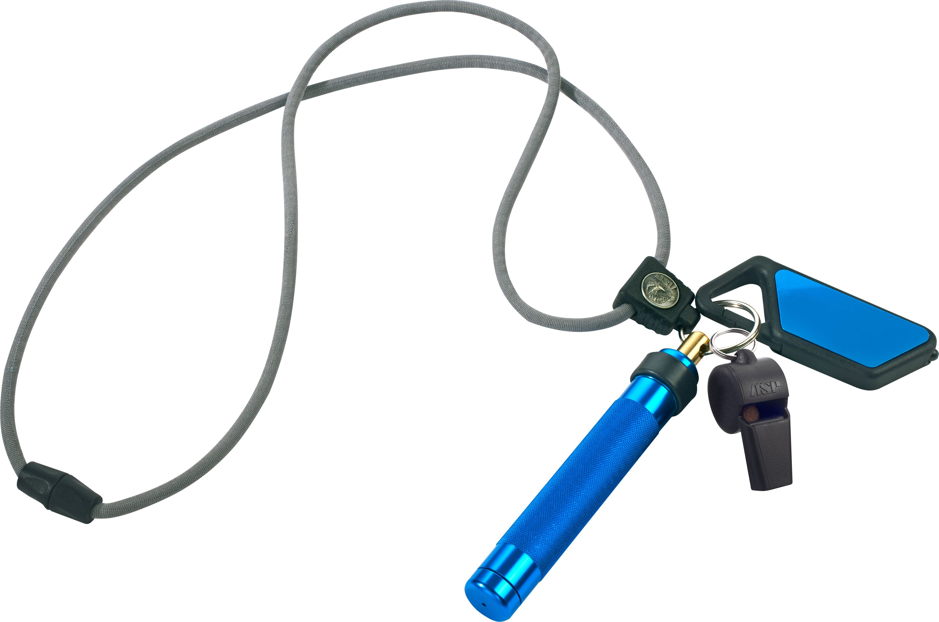 ASP Palm Defender Safety System (Blue) 4 inch Keyring Baton Pepper Spray, Whistle, Sapphire LED Light, Lanyard