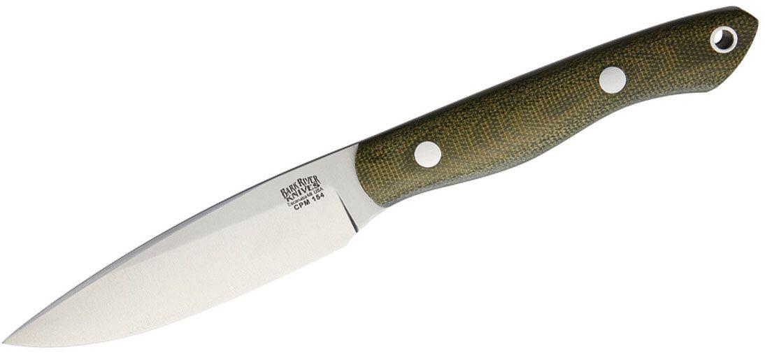 Bark River Knives Kalahari Thorn Fixed 3.75 inch CPM-154 Plain Blade, Green Canvas Micarta Handles, Leather Sheath