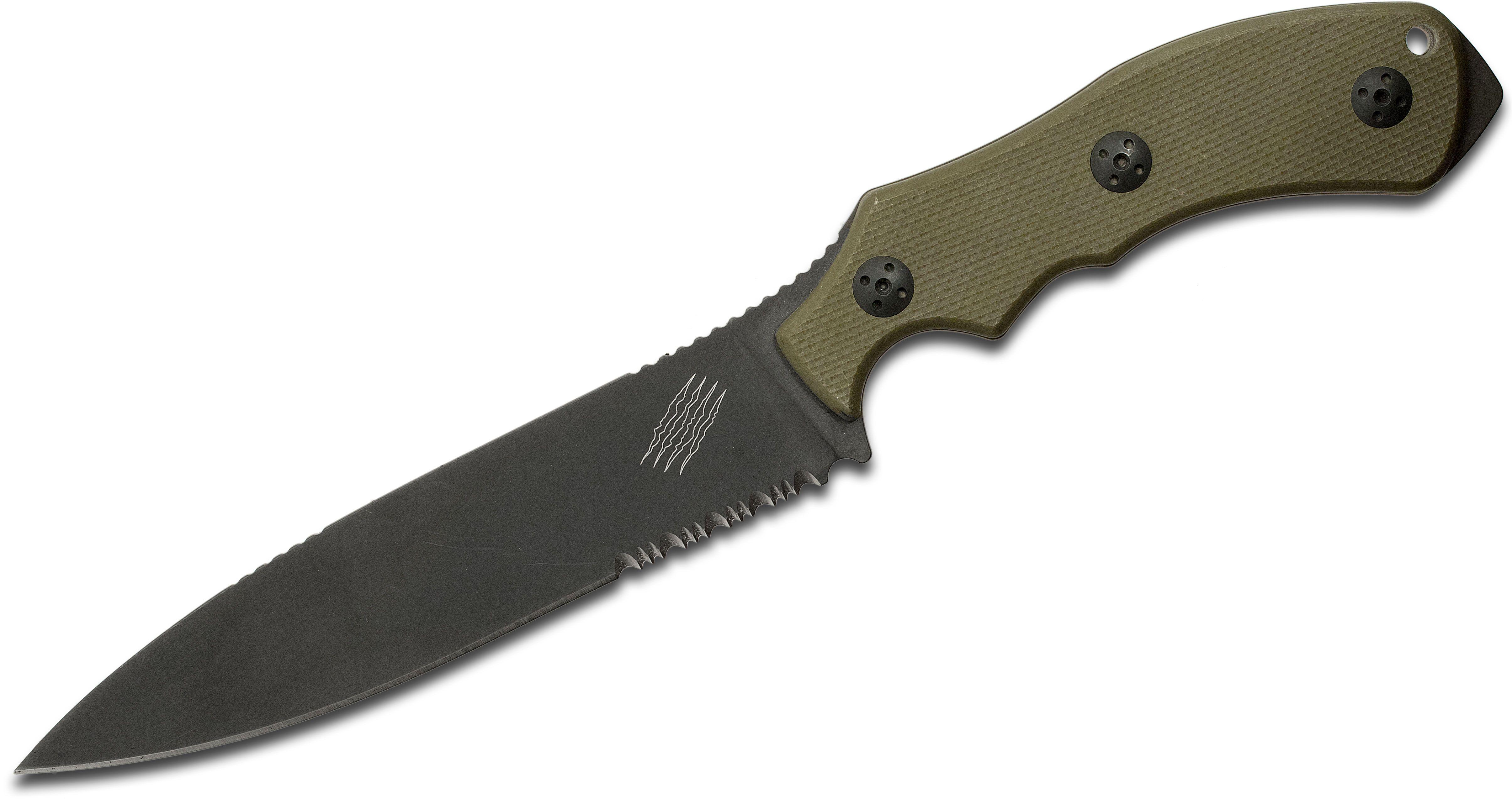 Bastinelli Creations GT6 Origin Fixed 5.51 inch Black D2 Combo Blade, OD Green G10 Handles, Kydex Sheath