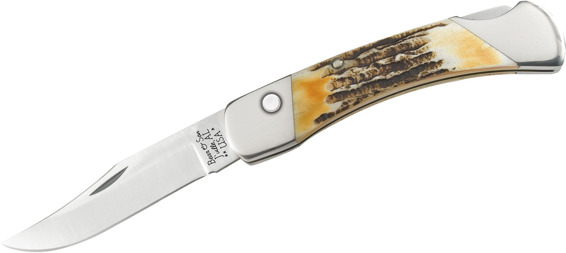 Bear & Son 5A97 AUTO Lockback Folding Knife 5 inch Closed, Genuine India Stag Bone Handles