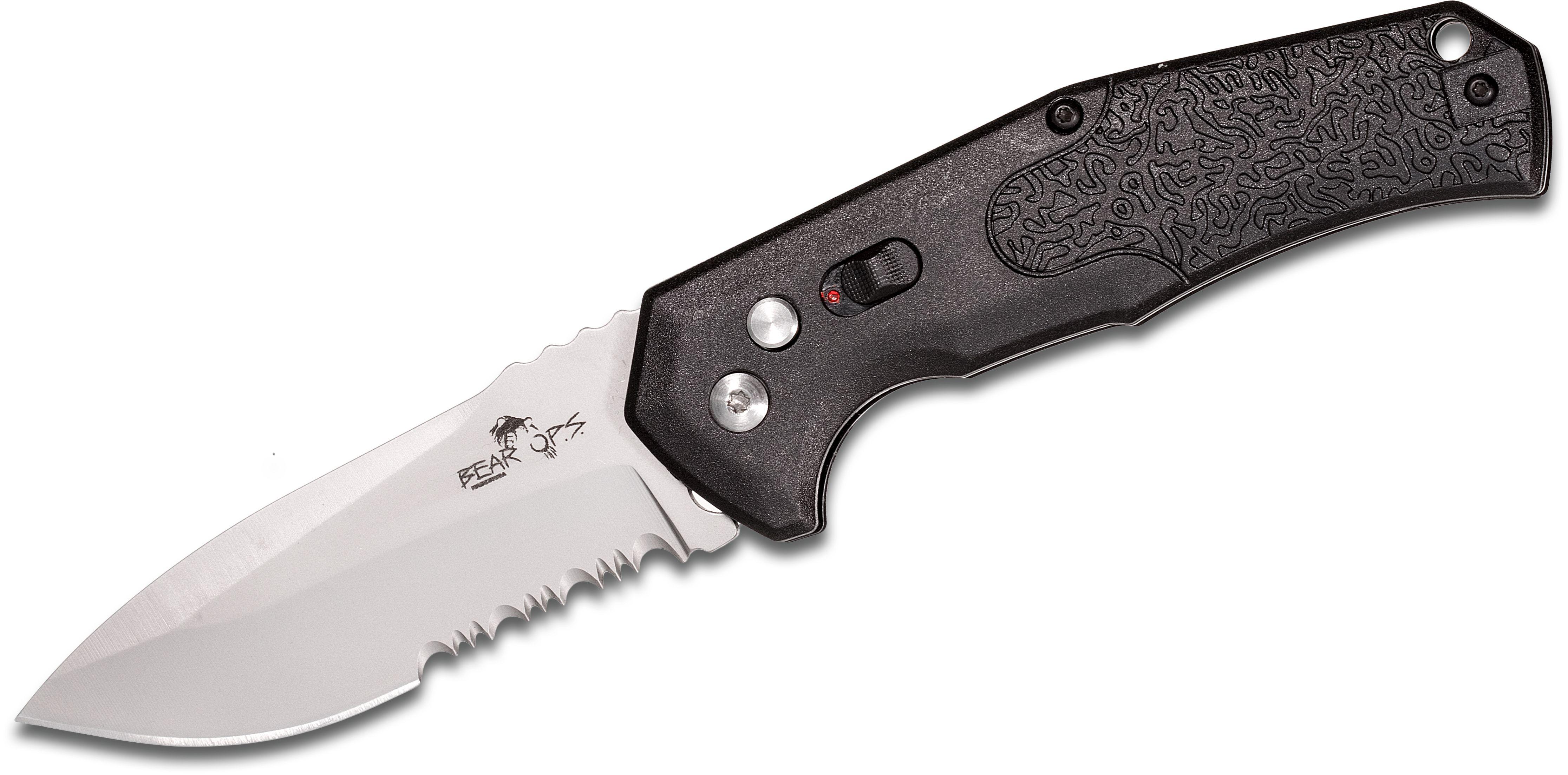 Bear OPS AC-600-B7-P Bold Action VI AUTO 3.125 inch 14C28N Bead Blasted Combo Blade, Black Zytel Handles