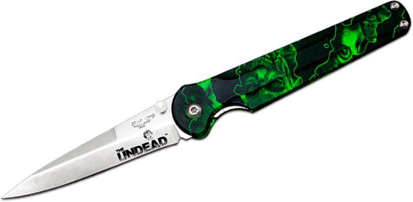 Bear OPS Bear Stiletto Undead Folding Knife 3-1/4 inch S30V Satin Blade, Reaper Z Aluminum Handles (UD-MC-300)
