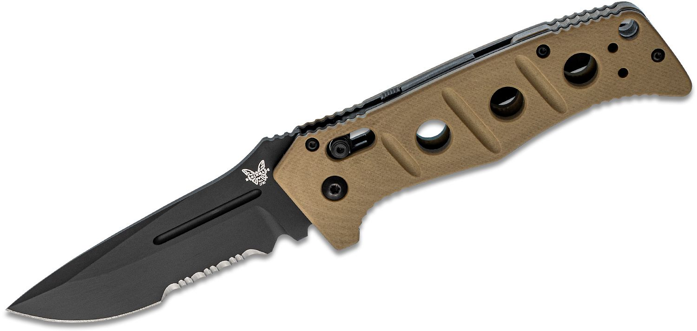 Benchmade Adamas AUTO Folding Knife 3.82 inch Black D2 Combo Blade, Desert Tan G10 Handles