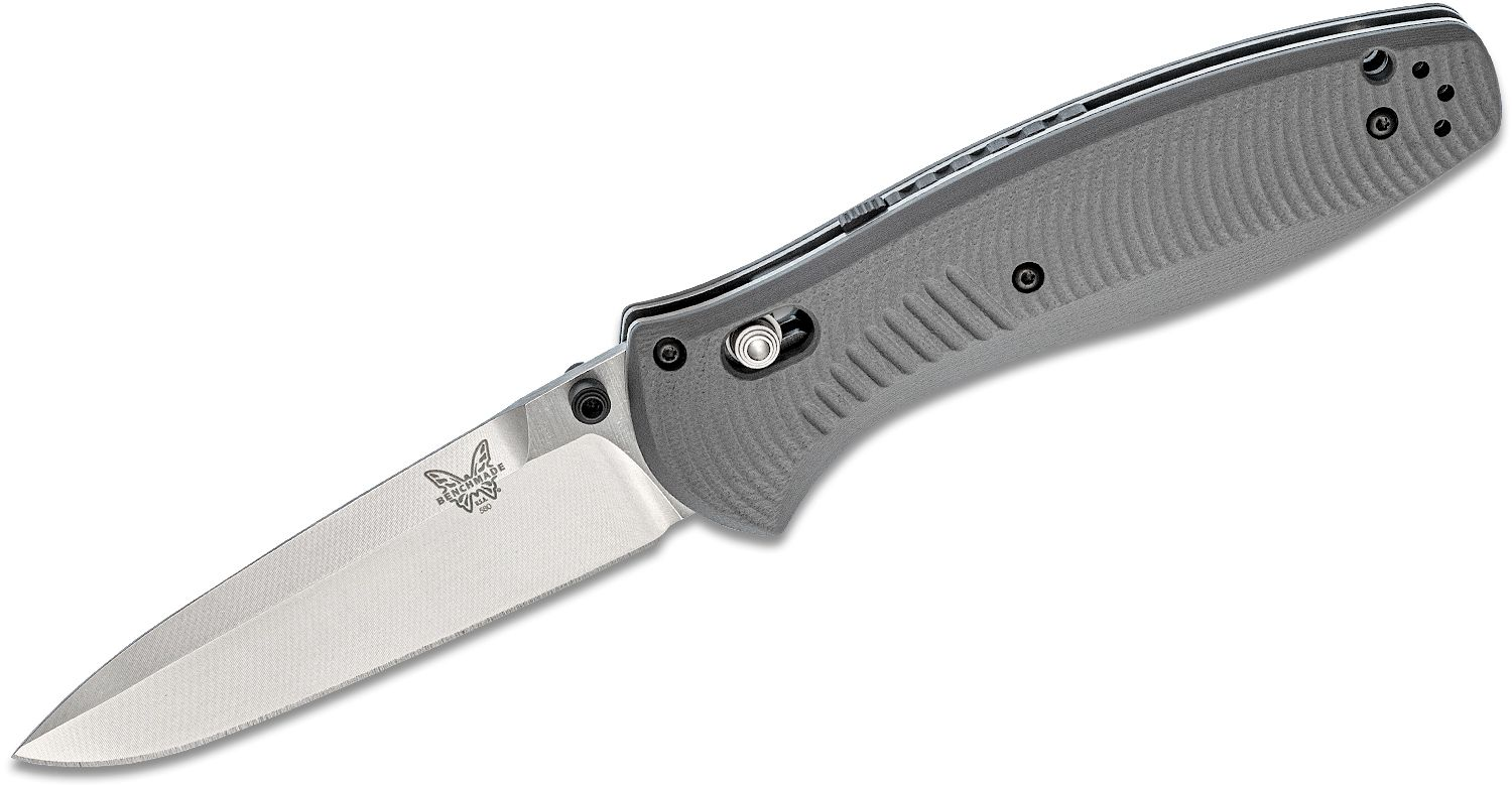 Benchmade 580-2 Barrage AXIS Assisted Folding Knife 3.6 inch S30V Satin Plain Blade, Gray G10 Handles