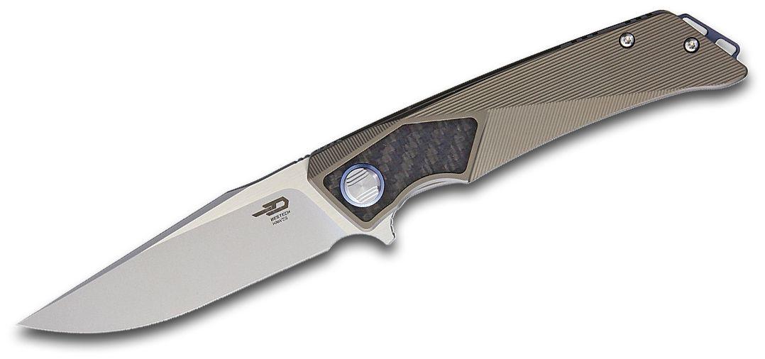 Bestech Knives Sky Hawk Flipper Knife 3.54 inch S35VN Two-Tone Satin/Bead-Blast Blade, Bronze Titanium Handles with Carbon Fiber Inlays