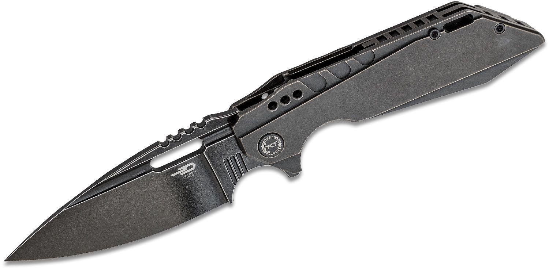 Bestech Knives Shodan Flipper Knife 3.86 inch S35VN Black Stonewashed Spear Point Blade, Black Stonewashed Titanium Handles