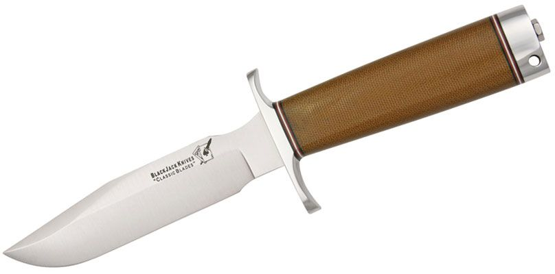 Blackjack Classic Model 5 Fixed 5-5/8 inch Blade, Brown Micarta Handles with Pommel