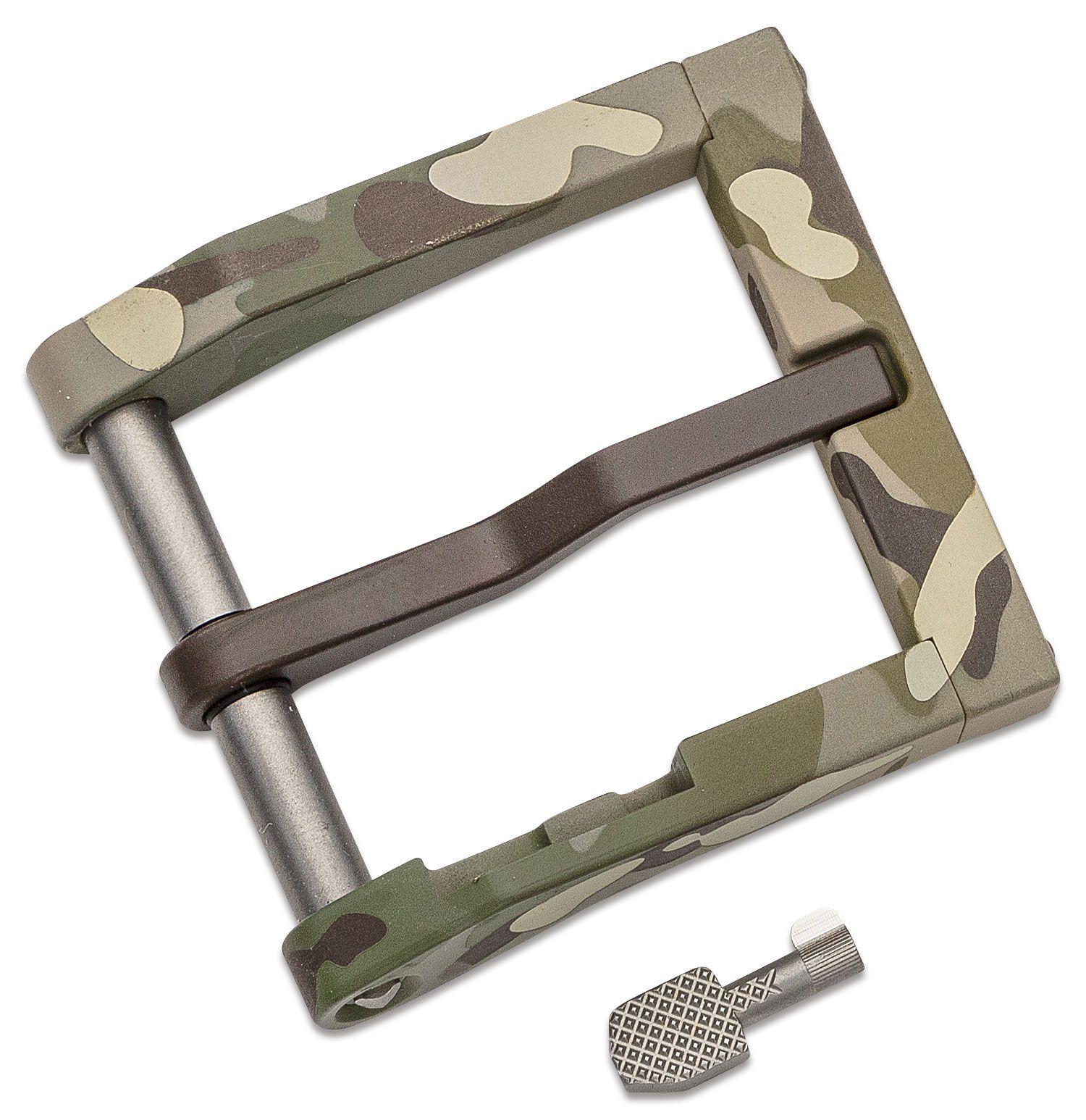 Blackside Customs Modular 1.5 inch Aluminum Belt Buckle with Cuff Key, Green Multi-Cam