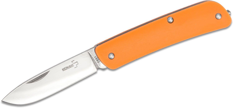 Boker Plus Tech-Tool 1 Pocket Knife 2.75 inch Drop Point Blade, Orange Glow-in-the-Dark Handles