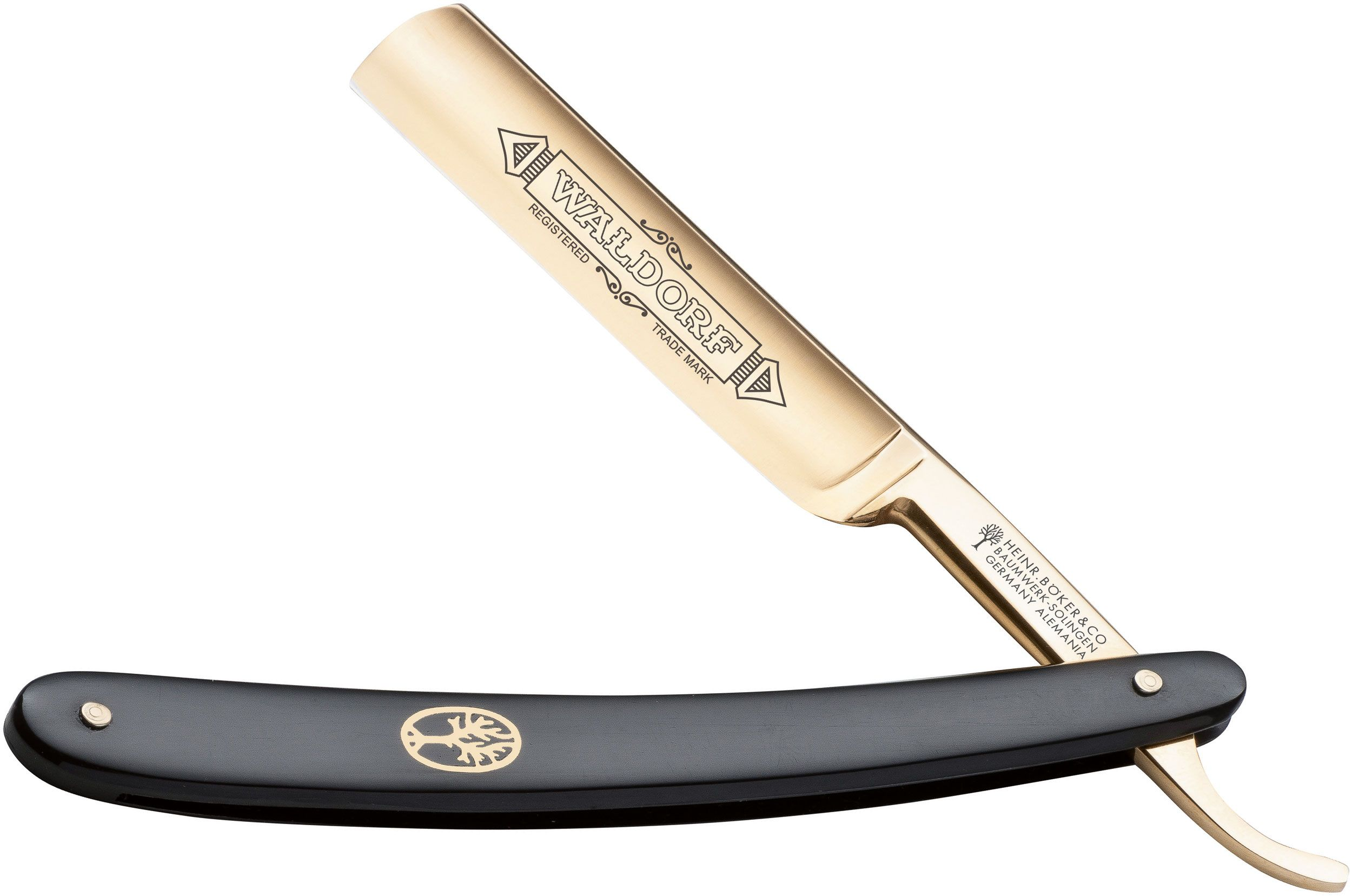 Boker Waldorf 24K Gold Straight Razor 5/8 inch Carbon Steel Blade, Black Synthetic Handles