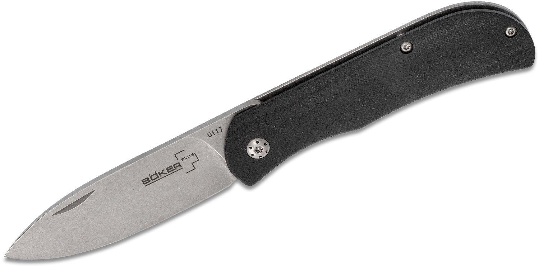 Boker Plus Exskelibur II Frame Lock Folding Knife 2.75 inch D2 Stonewashed Blade, Black G10 with Stainless Steel Back Handles