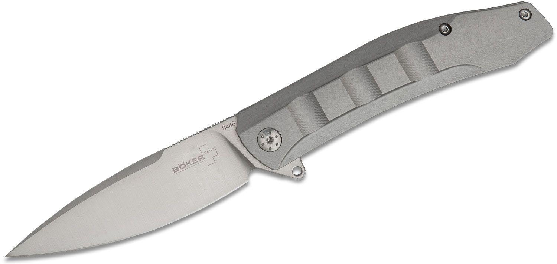 Boker Plus Talpid Flipper Knife 3.5 inch D2 Satin Spear Point Blade, CNC Machined Stainless Steel Handles