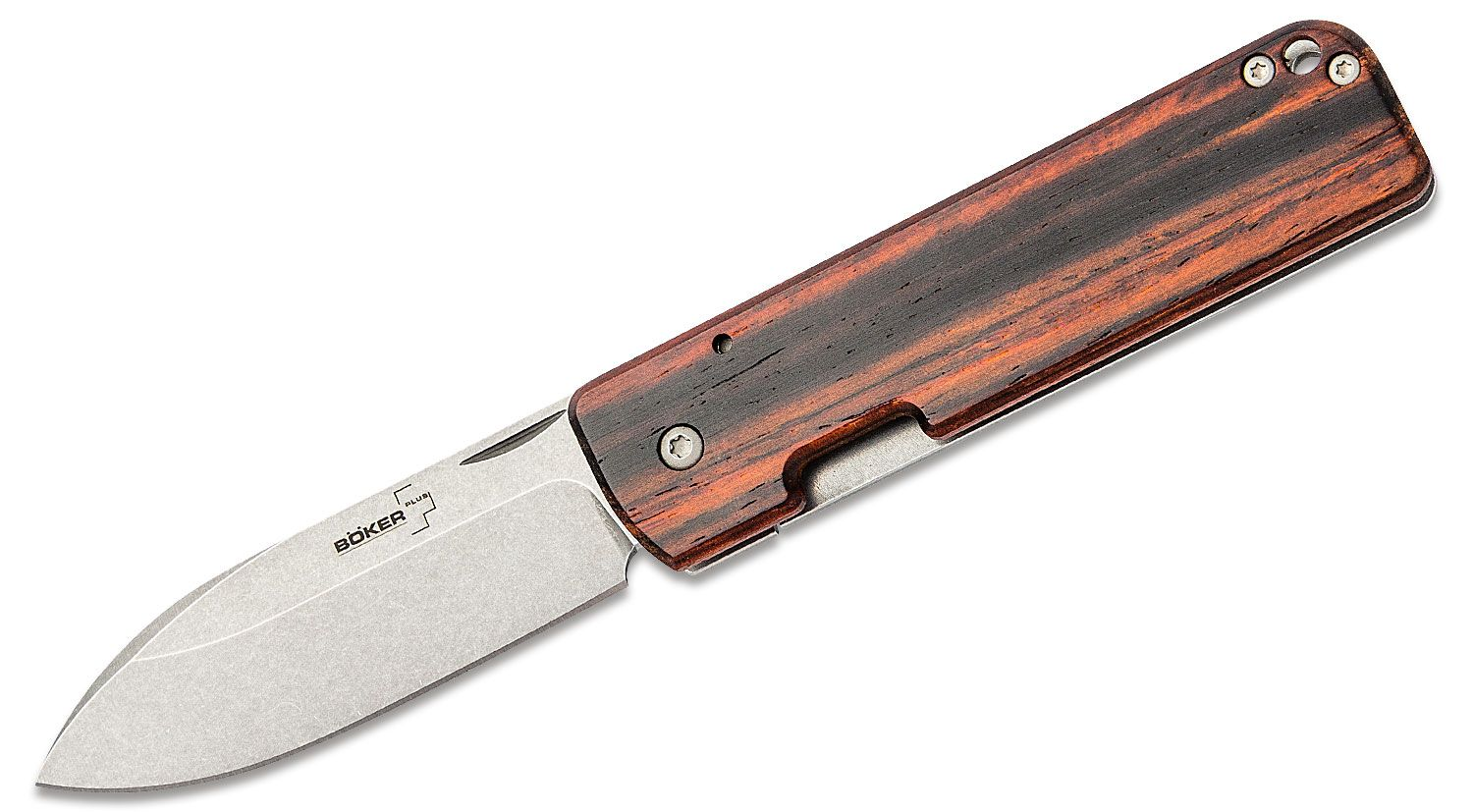 Boker Plus Serge Panchenko Lancer 42 Folding Knife 2.76 inch D2 Stonewashed Blade, Cocobolo Wood with Stainless Steel Back Handles