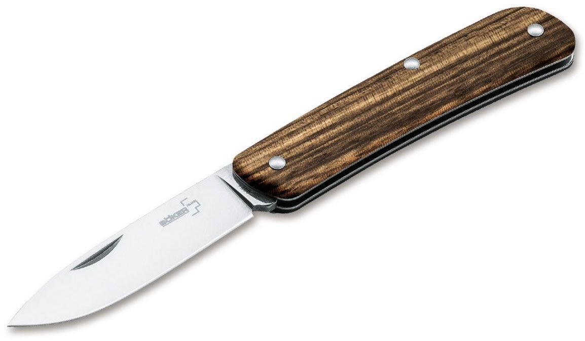 Boker Plus Tech-Tool 1 Pocket Knife 2.75 inch Drop Point Blade, Zebra Wood Handles