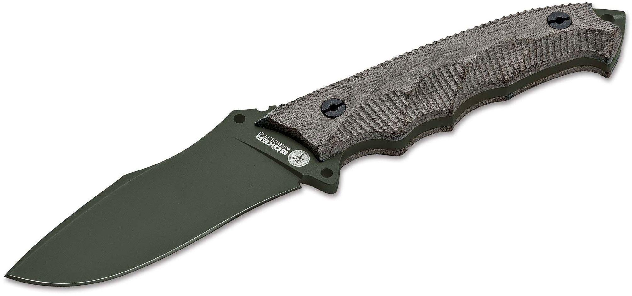 Boker Arbolito Buffalo Soul 42 Fixed 3.98 inch N695 Green Drop Point Blade, Green Micarta Handles, Leather Sheath