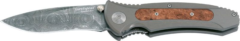 Boker Eurofighter Folding Knife 4 inch Damascus Blade, Aluminum Handles with Wood Inserts