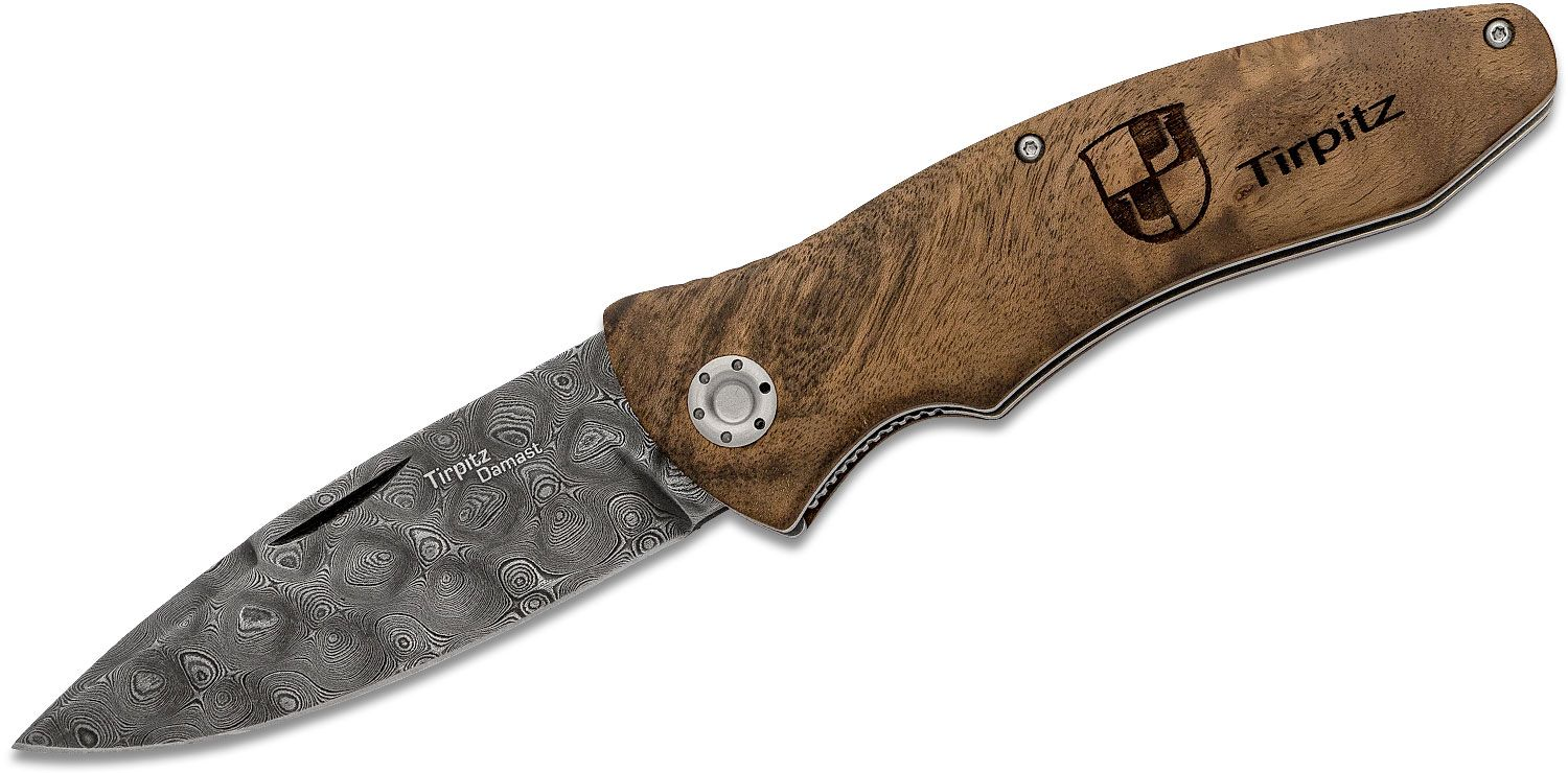 Boker Tirpitz 42 Damascus Nail Nick Folding Knife 3.9 inch Blade, Walnut Handles