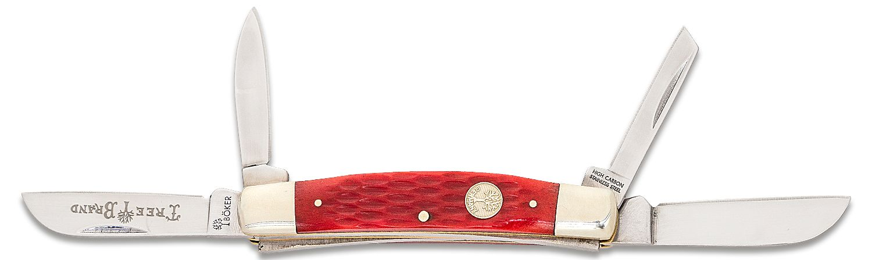 Boker Traditional Series Congress Folding Knife 3-5/8 inch Closed, Red Jigged Bone Handles