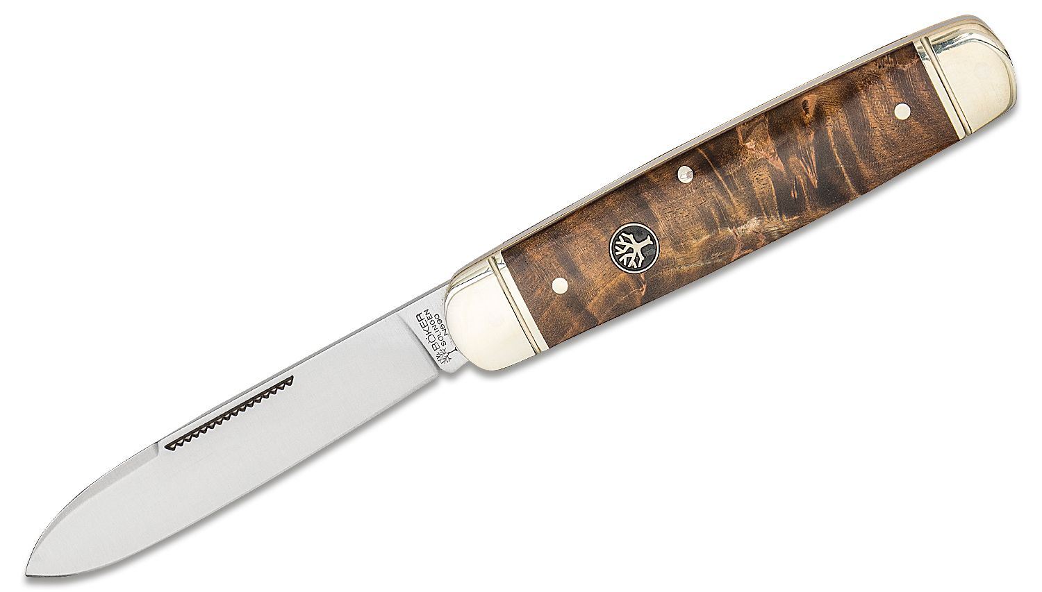 Boker Cattle Knife 3.23 inch N690 Satin Blade, Stabilized Curly Birch Handles with Nickel Silver Bolsters