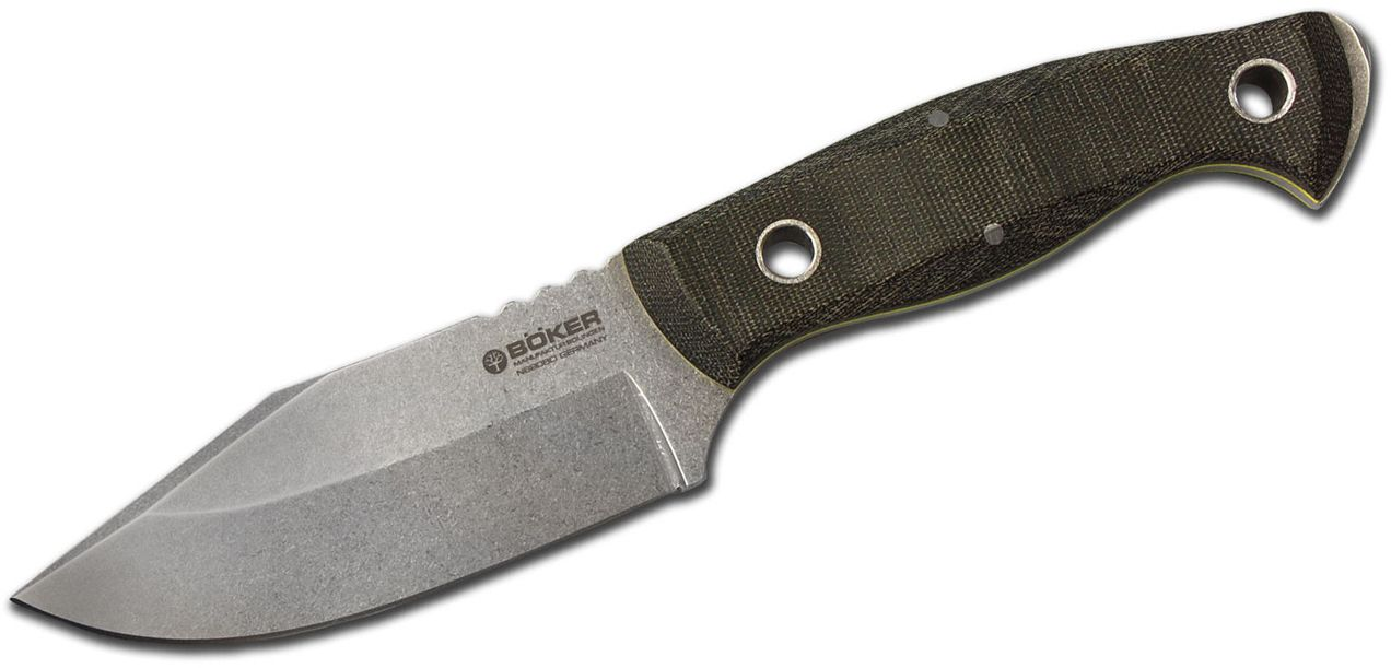 Boker Join The Navy (JTN) Fixed 4.25 inch Stonewashed N690 Plain Blade, Green Linen Micarta Handles, Leather Sheath