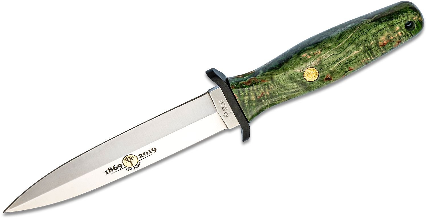 Boker 150th Anniversary Applegate-Fairbairn Fixed Double Edge Dagger 6 inch Polished Satin Blade, Green Curly Birch Handles, Black Leather Sheath
