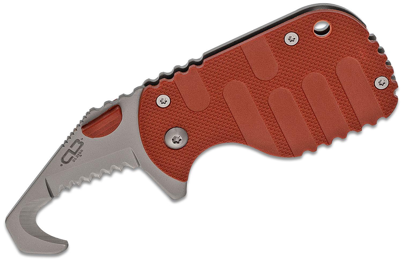 Boker Plus CLB Rescom Folding Rescue Hook Knife 1.875 inch Bead Blast Blade, Red FRN Handles