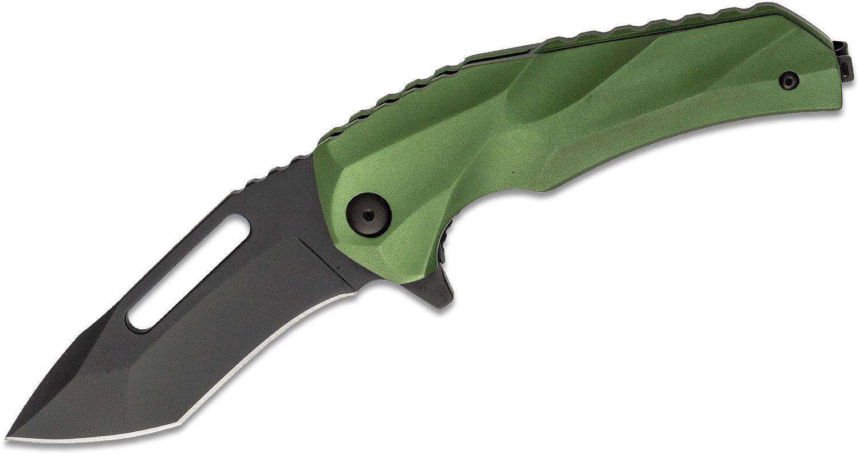 Brous Blades Willumsen Reloader Flipper Knife 3.5 inch D2 Blackout Blade, Green Aluminum Handles