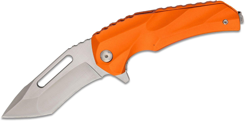 Brous Blades Willumsen Reloader Flipper Knife 3.5 inch D2 Satin Blade, Orange Aluminum Handles