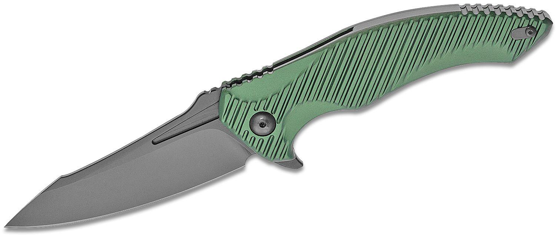 Brous Blades Tanium Design T4 Flipper Knife 4 inch D2 Blackout Blade, Green Aluminum Handles