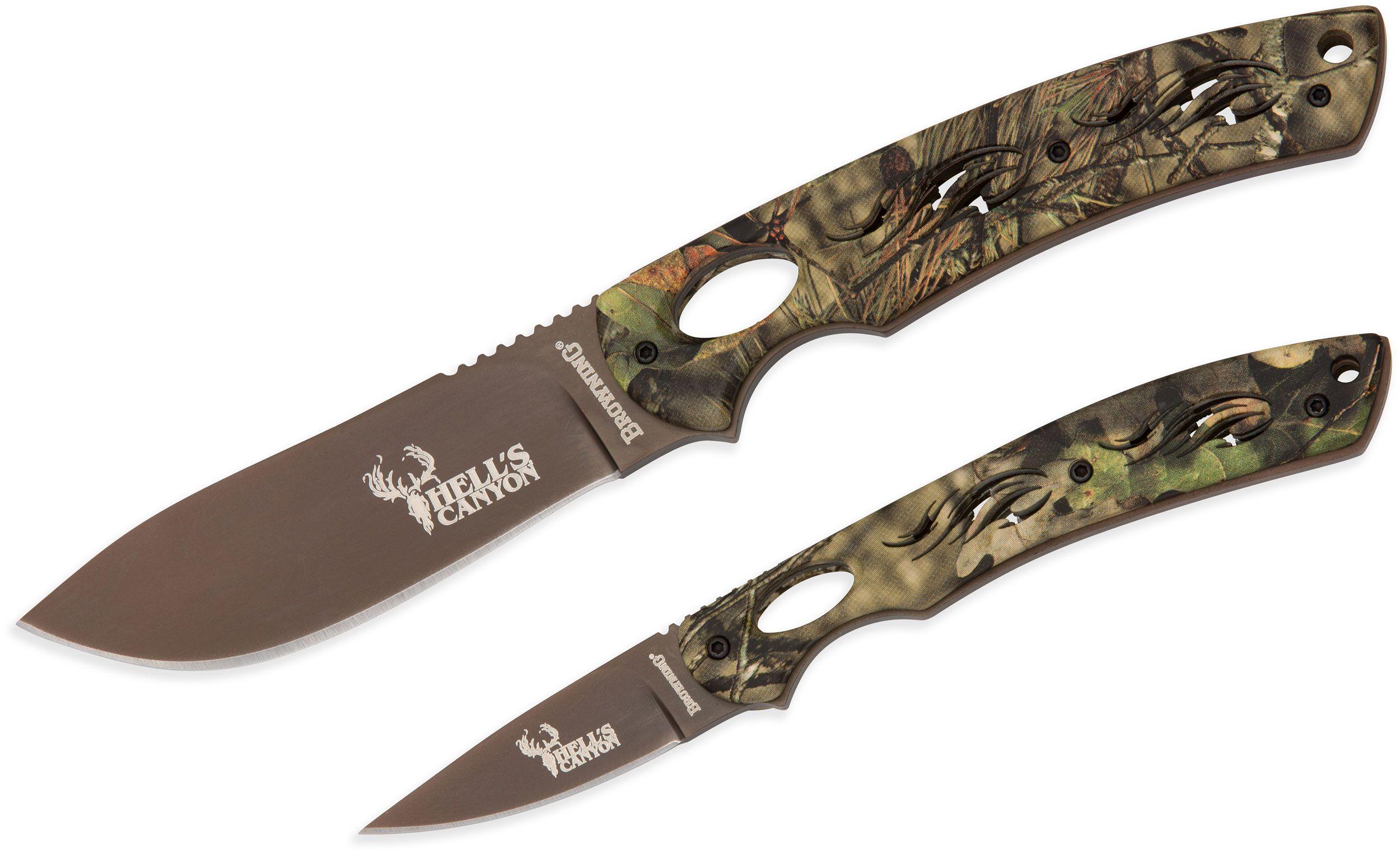 Browning Hell's Canyon Skeleton Fixed Blade Set, Mossy Oak Break-Up Country G10 Handles, Nylon Sheath